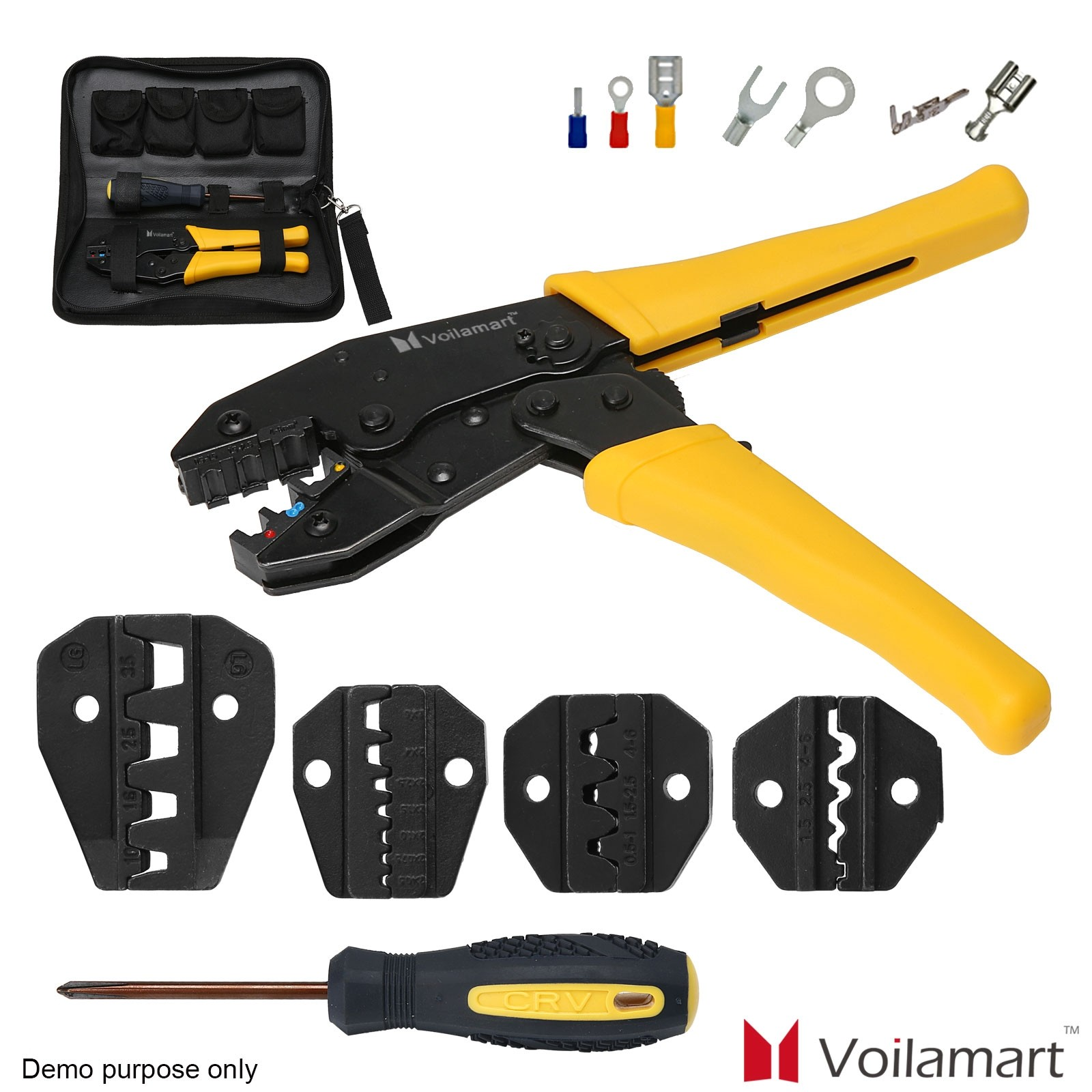 Professional 5 IN 1 Wire Crimper Set Terminal Crimping Pliers Tool Kit with Case