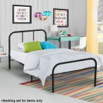 Kingpex Metal Bed Frame Twin Size Black / 6 Legs Platform Mattress Foundation Headboard Footboard/No Box Spring Needed Boys Kids Adult Bedroom