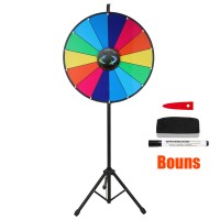 Voilamart 24 Inch Color Prize Wheel with Folding Tripod Floor Stand 14 Slots Dry Erase Trade Show Fortune Spinning Game