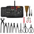 Voilamart 14 Piece Bonsai Tools Kit with Case, Carbon Steel Scissor Cutter Shear Set Garden Plant Tools